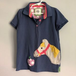 Mini Boden 7-8y Blue polo shirt with Horse